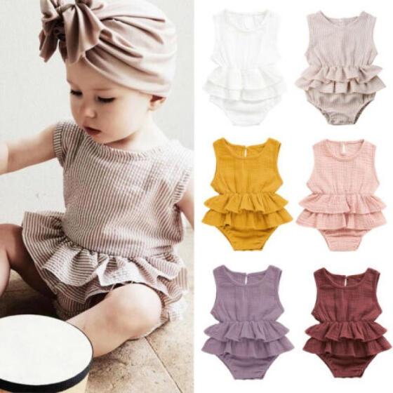 US Summer Newborn Kid Baby Girl Clothes Sleeveless Romper Tutu Dress 1PC Outfit