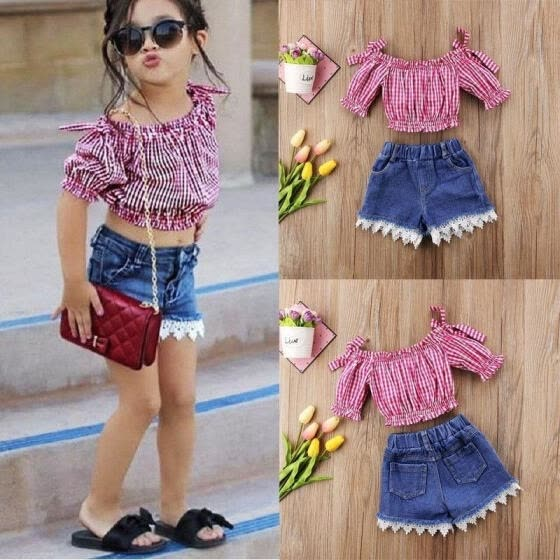 Fashion Toddler Kid Girl Off Shoulder Top Shirt Lace Denim Shorts Outfit Clothes