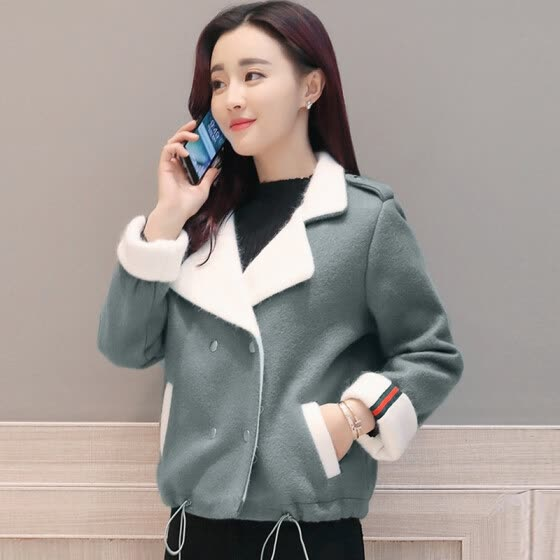 Cypress House 2018 Winter New Women's Lapel Casual Simple Contrast Small Fresh Fashion Short Jacket Wool Coat S84R0032DA262XL Bean Green XL