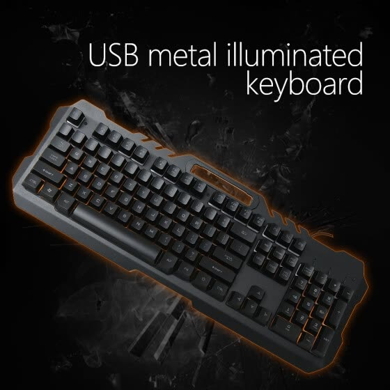 Computer Luminous Keyboard USB Metal Keyboard Mobile Phone Bracket/Holder