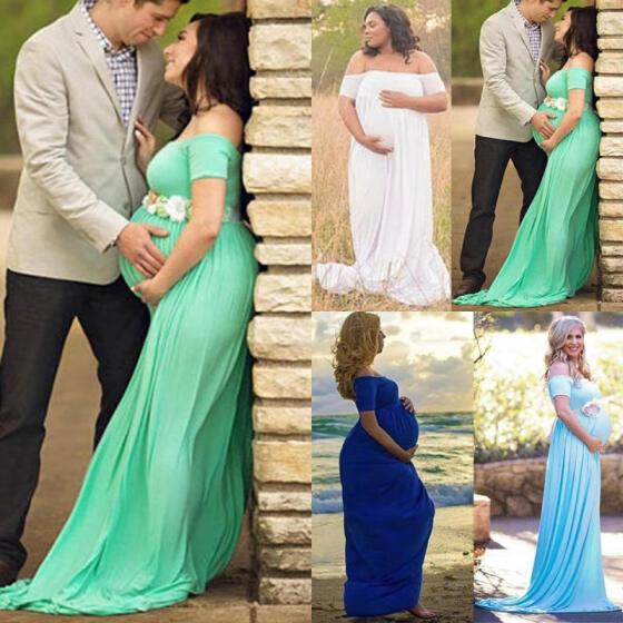 Pregnant Women Cold Shoulder Maternity Dress Bodycon Photography Mini Prop Dress
