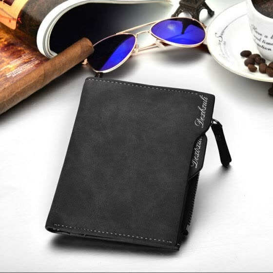Brand New Fashion Men's Wallets Leather Bifold Wallet Money Holder Clutch Pockets Purse Pure Color Solid Zipper Fashion Hot 2019