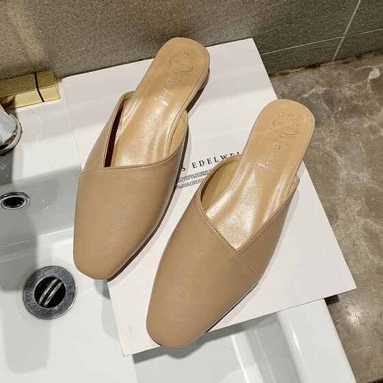 Muller shoes spring shoes 2019 new Korean version of Chinese heel slippers OL tip half bag wearing slippers lazy tide towing