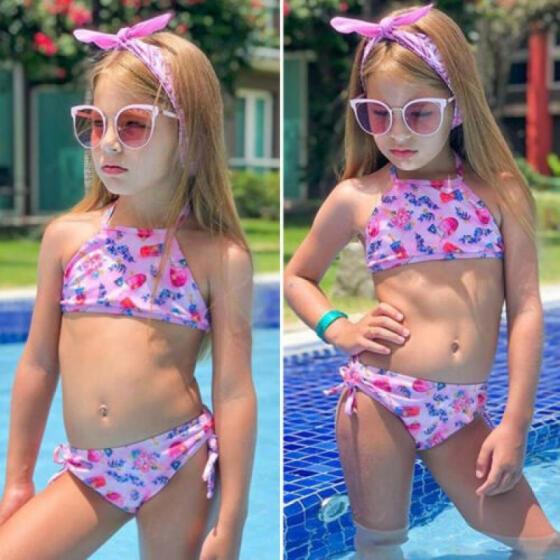 Toddler Kids Baby Girls Floral Bikini Swimwear Swimsuit Bathing Beach Costume