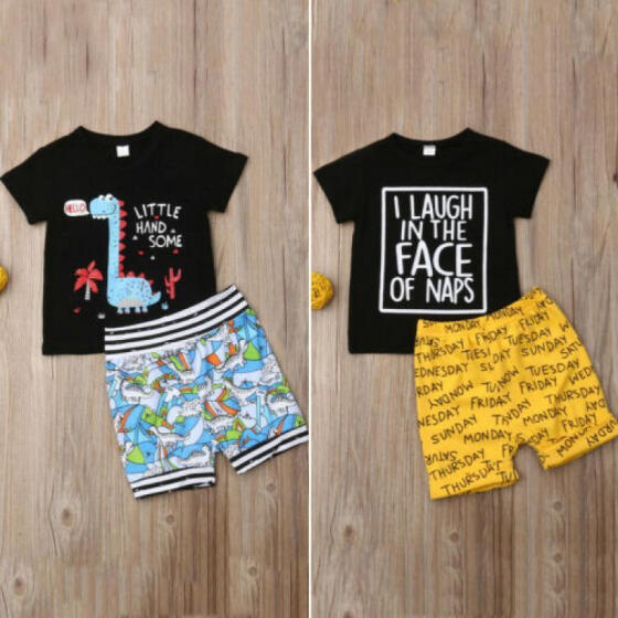 CA Infant Kids Baby Boys Tops T-shirt Dinosaur Pants Shorts Outfits Clothes 1-6Y