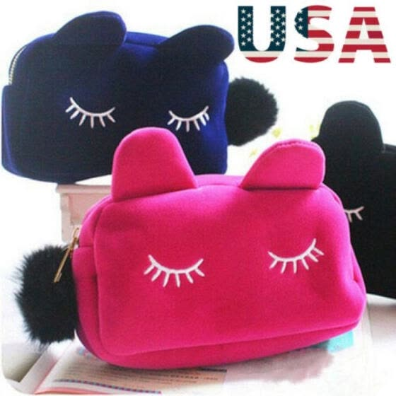 USA Cute Lady Cosmetic Makeup Cartoon Animal Storage Bags Pen Pencil Pouch Cases