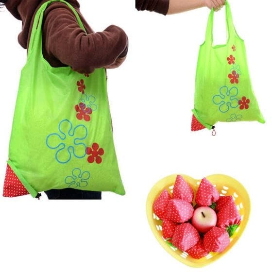 Large Nylon Reusable Folding Strawberry Eco Grocery Bag Retail Shopping Tote Bag