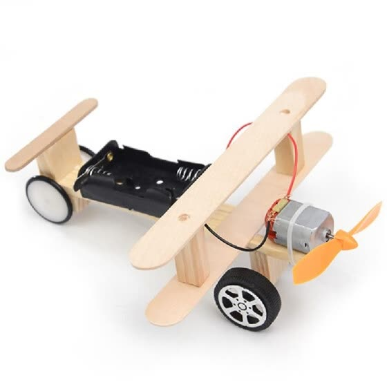 Wood Electric Aircraft Electric Glider DIY Kit Kids Toy Airplane DIY Kit Electric Wooden Airplane Model for Children Flying Model