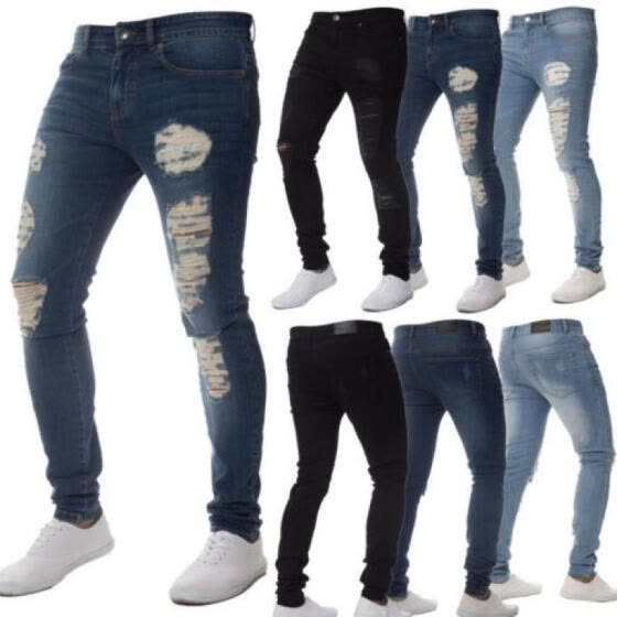 MENS DENIM SUPER STRETCH SKINNY SLIM FIT JEANS RIPPED JEANS Fashion 2018 Newest