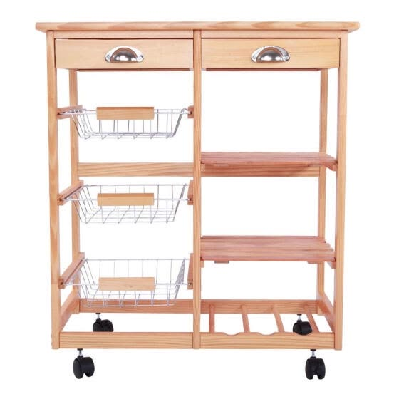 Shop Rolling Wood Kitchen Trolley Island Utility Storage Cart With Drawers Baskets On Wheels Online From Best Kitchen Dining Room Furniture On Jd Com Global Site Joybuy Com