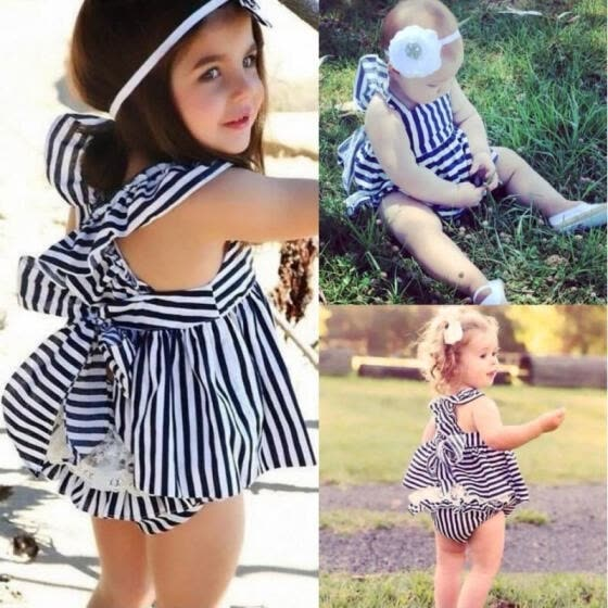 Navy Baby Girls Summer Sunsuit Striped Bowknot Backless Dress Briefs Outfits Set