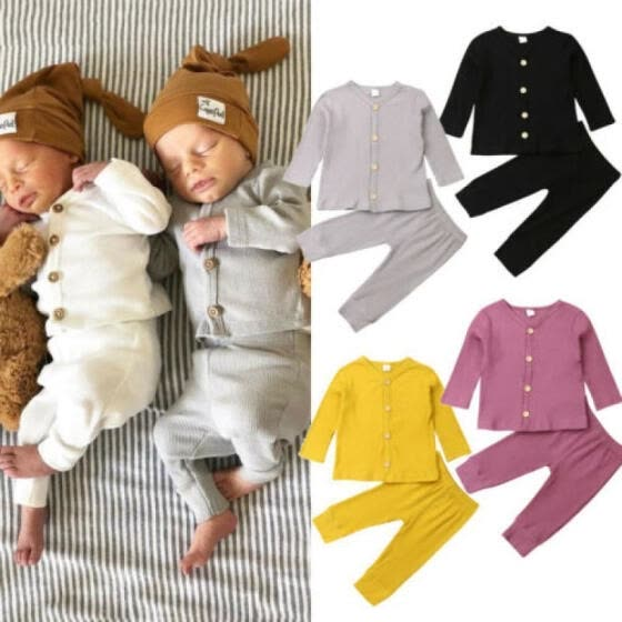 Newborn Baby Girl Boy Knitted Long Sleeve Tops Pants Leggings Outfits Clothes