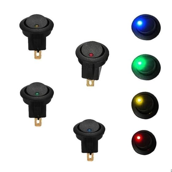 20 PCS LED Dot Light 12V Car Boat Auto Round ON//OFF Rocker Toggle SPST Switch