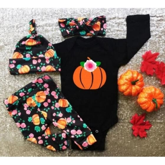 Halloween Kids Baby Boys Girls Pumpkin Tops Romper Pants Hat Outfits Set 0-24M