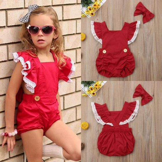 Newborn Baby Girl Short Sleeve Romper Bodysuit Dress Outfits Backless Clothes