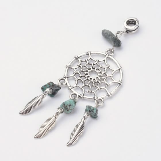 Dream Catcher Alloy Dangle Pendants, with Natural Turquoise Beads and Alloy Hanger Bail Beads, Antique Silver, 80mm, Hole: 5mm