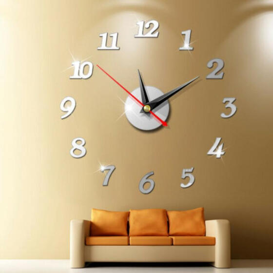 Modern DIY Large Numbers 3D Wall Clock Mirror Sticker House Decoration Silver M