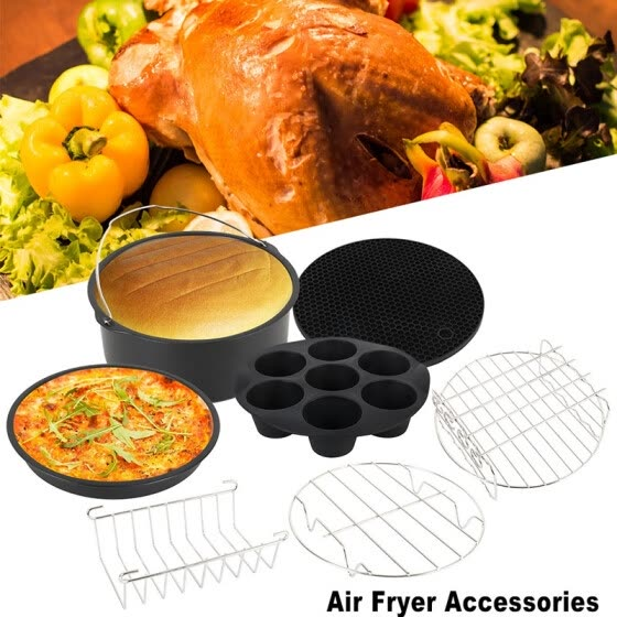 7pcs 8inch Diameter High Quality Stainless Steel Air Fryer Cooking Accessories for Gowise Phillips and Cozyna
