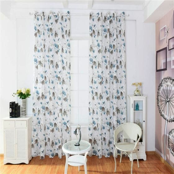 Shop Floral Printed Sheer Voile Tulle Drapes Living Room ...