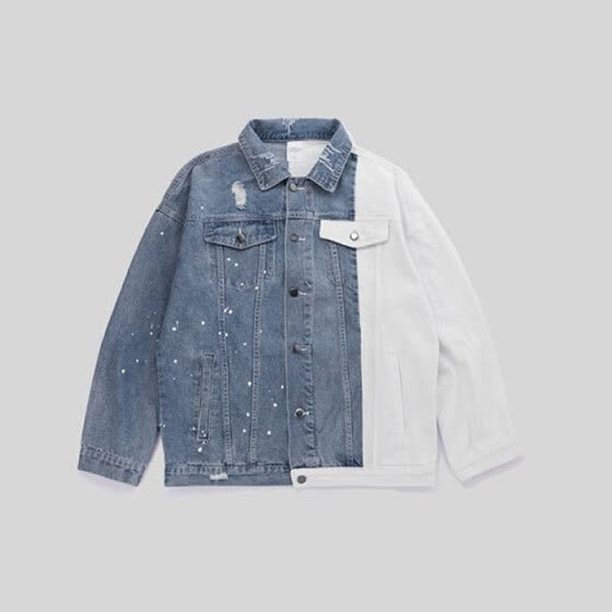 Trendy blue and white contrast color stitching men's denim jacket letter print splash coat