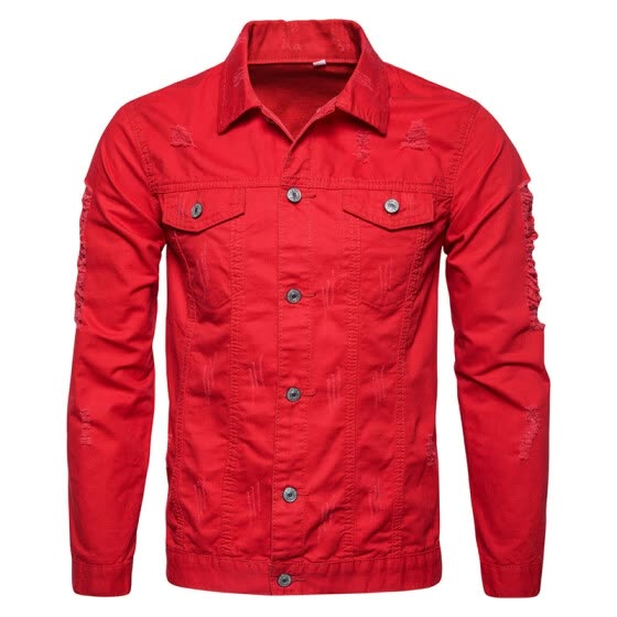 Mens Long Sleeves Ripped Denim Jean Jacket Plus Size Button Down Slim Fit Tops