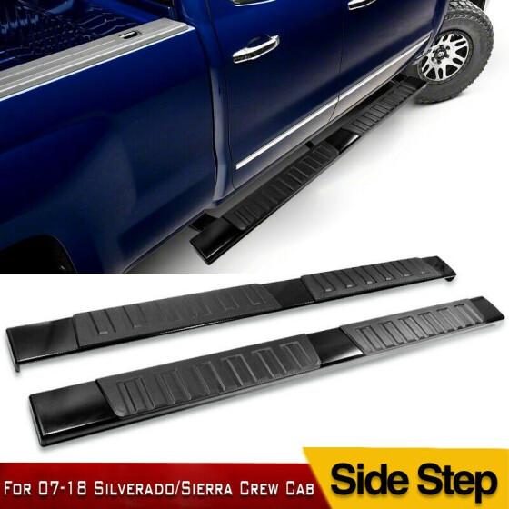 """For 07-18 Silverado//Sierra Crew Cab 6/"""" Side Step Running Board Nerf Bar H Black"""