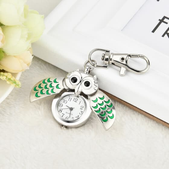 High Quality 2018 Hot Sale Fashion Owl Retro Watch Key Buckle Watch Necklace Pendant Watch Jewelry Quartz Watch Gift