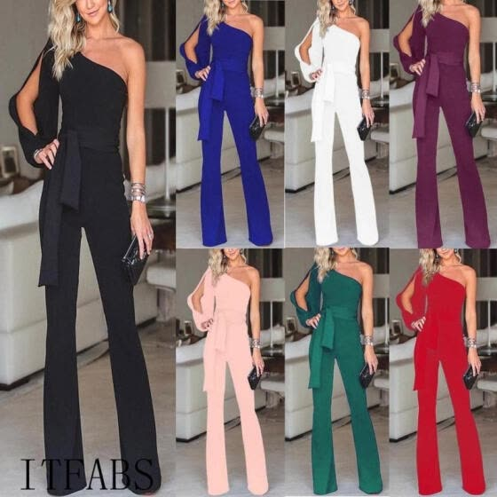 2018 Hot Sale Women Summer Clubwear Playsuit Jumpsuit Solid One Shoulder Long Trousers Pants