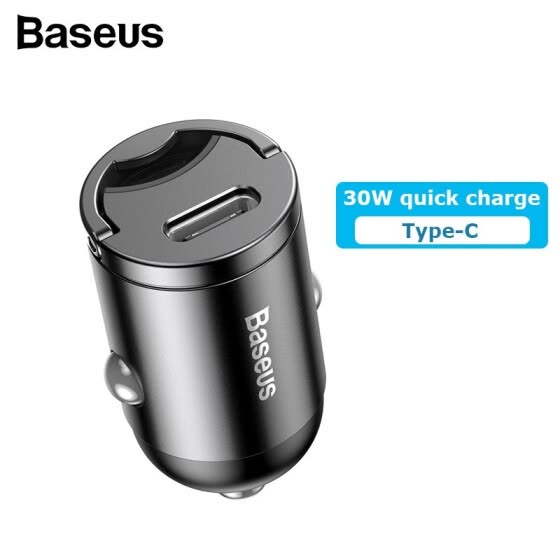 Baseus Mini 30W Quick Charge Car Charger with USB3.0 or Type-C Port 12V/24V PD 3.0 aviation alloy car charger