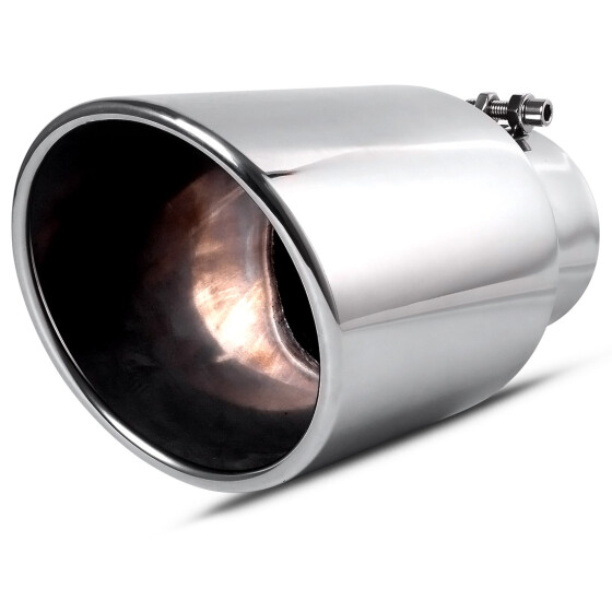"Polished Stainless Steel Exhaust Tip 5/"" Inlet 6/"" Outlet 12/"" Long"