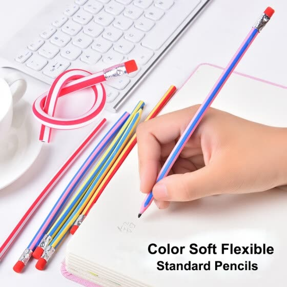 Cute Candy Color Soft Flexible Standard Pencils Korea Kawaii Folding Pencil with Eraser School Stationery Creative kids toy