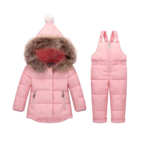5730d1d72 Winter Children Clothing Sets Jumpsuit Snow Jackets+bib Pant 2pcs Set Baby  Boy Girls Duck
