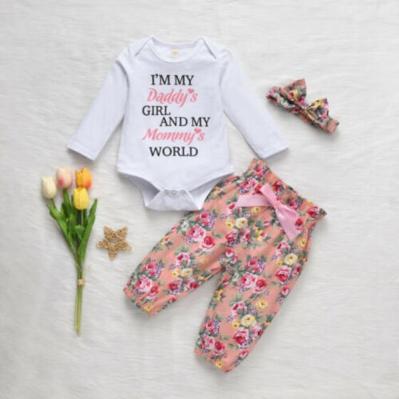 3pcs Newborn Baby Girl Floral Clothes Long Sleeve Romper Bodysuit Outfit Socks