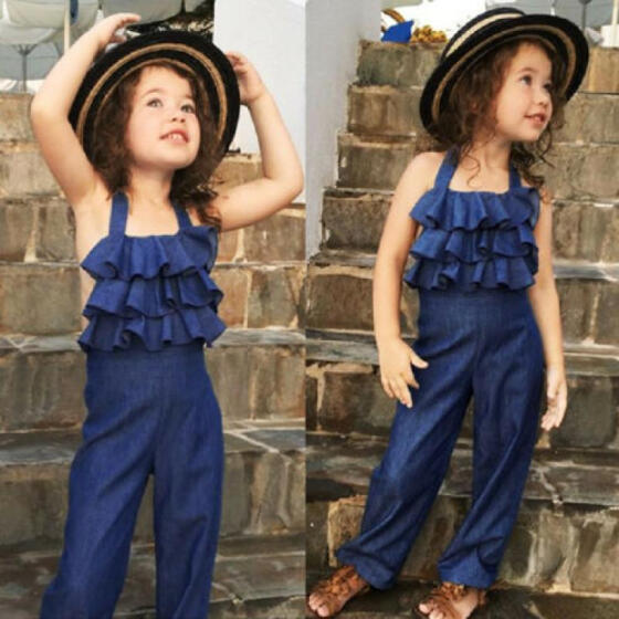 Toddler Kids Baby Girls Casual Ruffled Romper Long Jumpsuit Playsuit Outfits UK