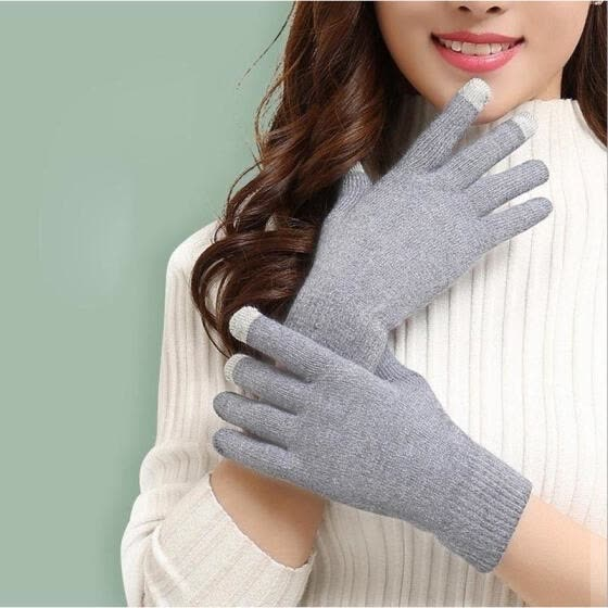 Women Warm Gloves Wool Stretch Touch Screen Knit Mittens Winter Accessories