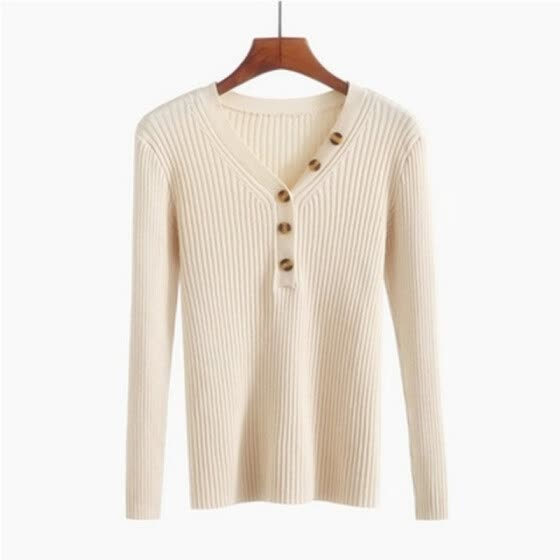 Shop New Fashion Button V Neck Sweater Women Spring Autumn Solid Knitted Pullover Women Slim Soft Jumper Sweater Female Knit Tops Online From Best Knits On Jd Com Global Site Joybuy Com