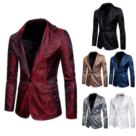Men's Casual Slim Fit One Button Suit Blazer Coat Jacket Tops S M L XL XXL