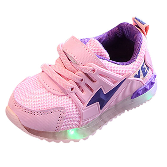 Kids Infant Baby Girls Children Sport Shoes Bling LED Luminous Boots Sneakers