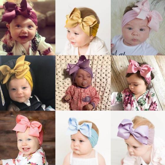 Fashion Toddler Girls Kids Baby Big Bow Hairband Headband Stretch Turban Knot