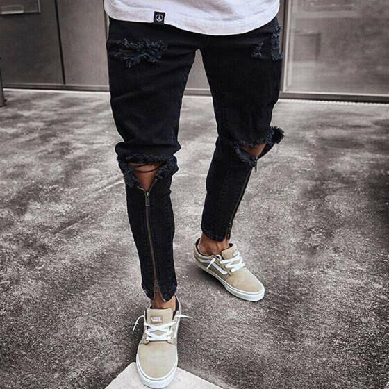 Men's Fashion Ripped Jeans Skinny Destroyed Jeans Frayed Slim Pant Denim Zipper