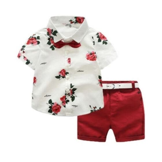 Baby Boy Gentleman Clothes Short Sleeves Shirt Tops Shorts Pants Formal Outfit Kids Summer Clothes