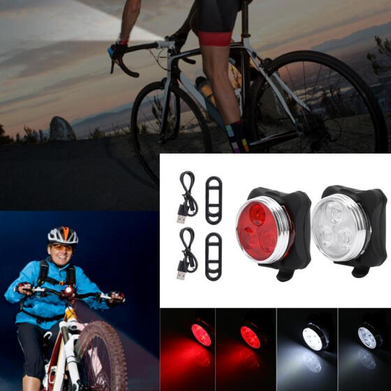 USB Rechargeable LED Bicycle Bike MTB Front Lamp Headlight+Rear Tail Light Set