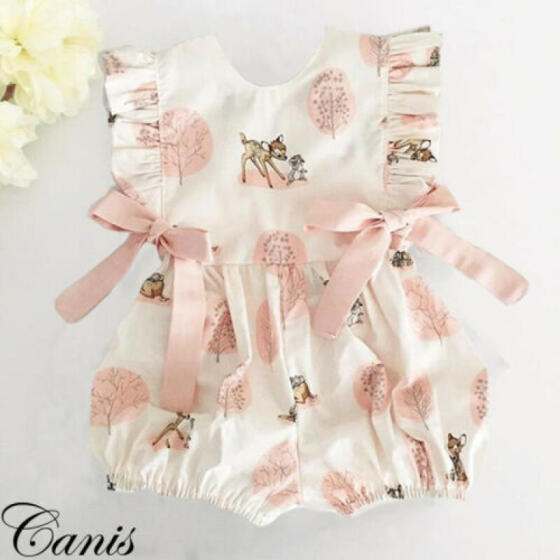 UK Flower Toddler Kids Baby Girl Summer Ruffle Romper Jumpsuit Outfits Clothes