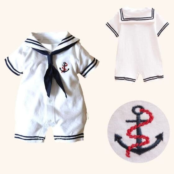 Hot Sale Baby Boy Cotton Outfits Sailor Romper Newborn Infant One-piece Clothes