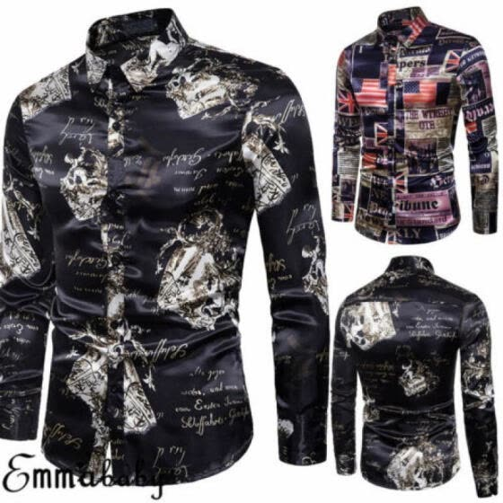 Mens Fashion Luxury Casual Slim Fit Stylish Dress Shirts Long Sleeve Shirt Tops