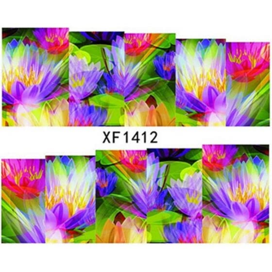 Greensen Colorful Flowers Pattern Manicure Full Stickers Nail Art Decoration DIY Nail Tips Decal XF1412