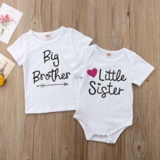 Kids Baby Little Sister Romper Bodysuit Big Brother Cotton T-shirt Tee Summer
