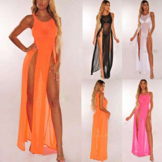Shop Women's Bikini Swimsuit Cover up Silk Summer Beach Wear Mesh Sheer  Long Dress Online from Best Swimsuits & Cover Ups on JD.com Global Site -  Joybuy.com