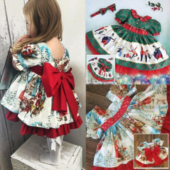Fancy Xmas Tree Costume for Toddler Baby Girls Christmas Romper Skirt Outfit Set
