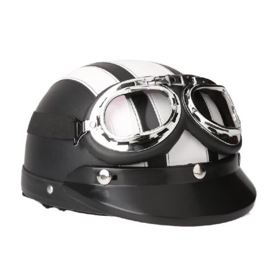 Motorcycle Scooter Open Face Half Leather Helmet with Visor UV Goggles Retro Vintage Style 54-60cm
